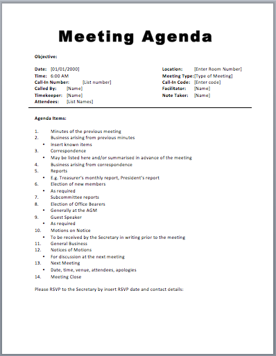 Template for an incep. Agenda clipart written document