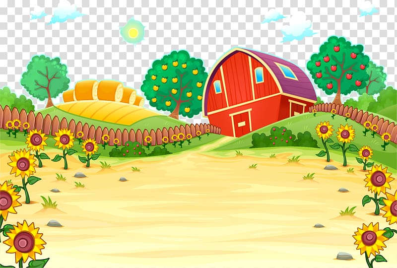 Barn illustration farm cartoon. Agriculture clipart agricultural