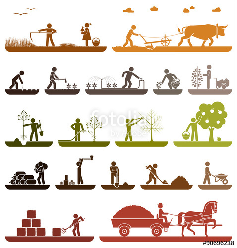 Agriculture clipart agricultural production. Set of pictogram icons