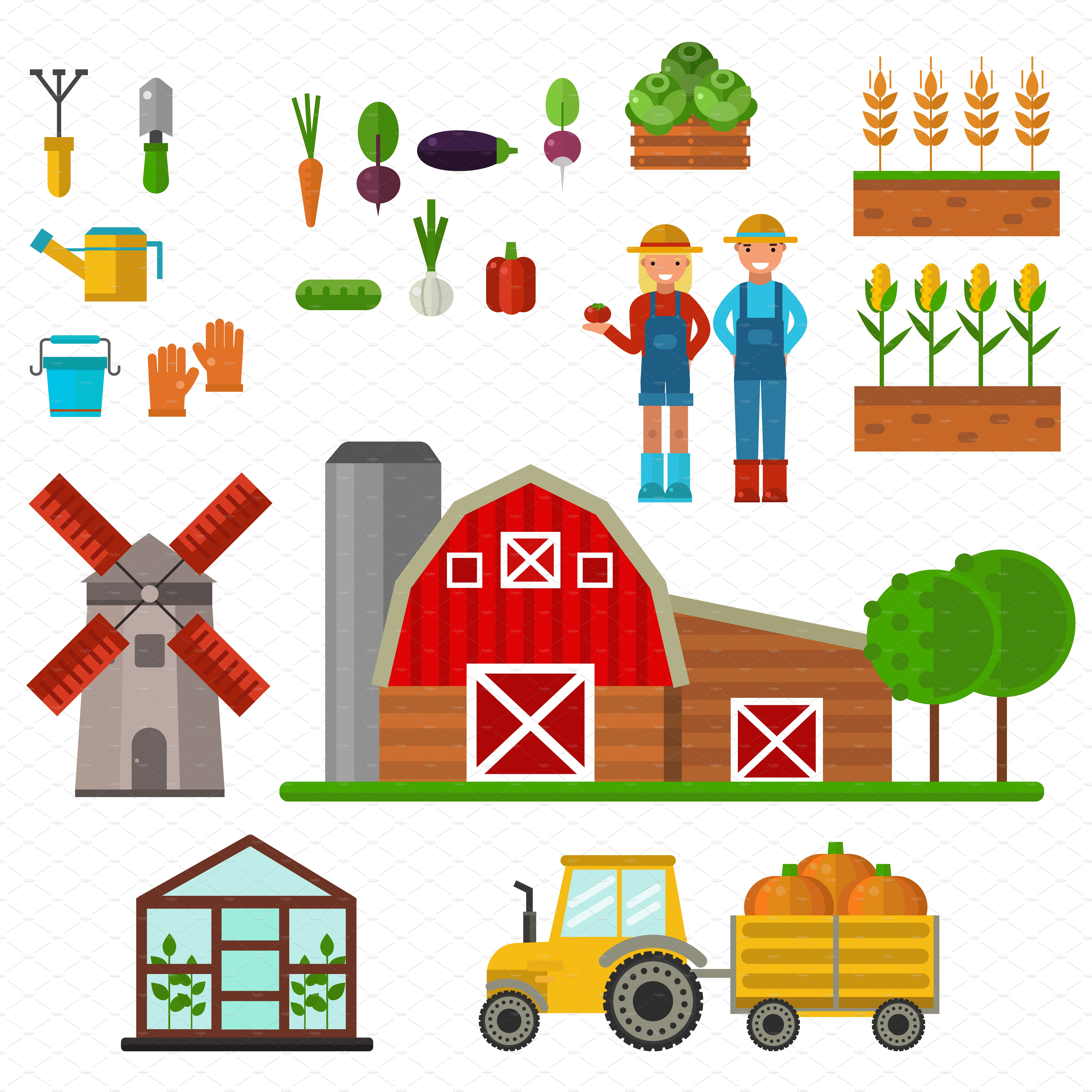 Farm symbols vector illustrations. Agriculture clipart agricultural production