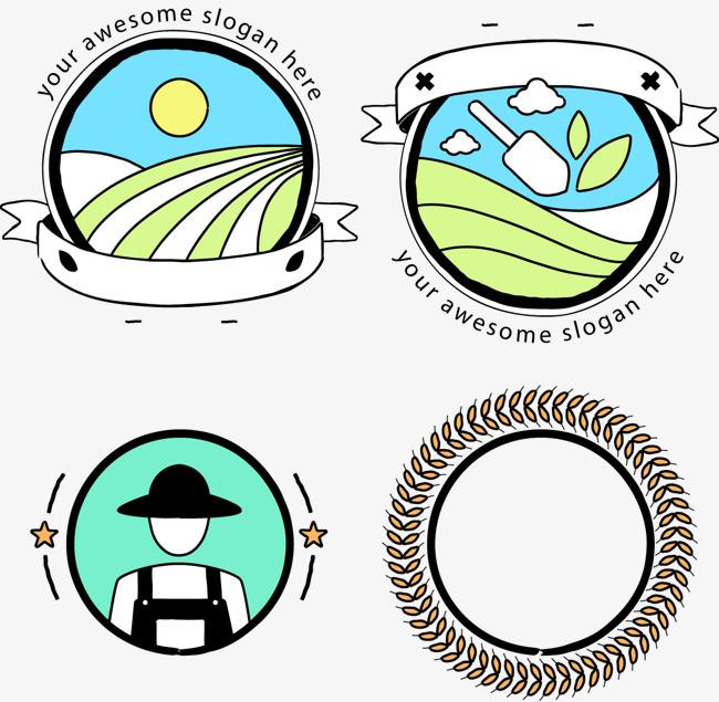 Agriculture clipart agricultural production. Vector logo produce reap