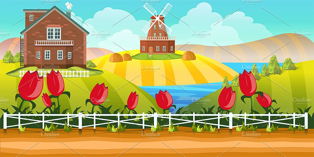 Cartoon farm illustrations creative. Agriculture clipart agriculture background