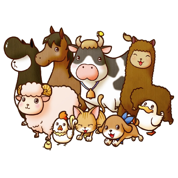 Animated background rural landscape. Clipart borders farm animal