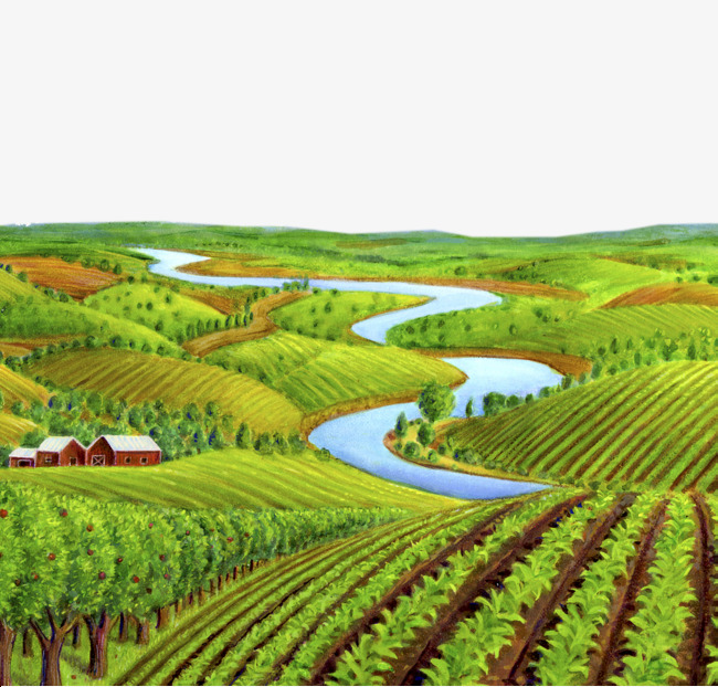 Farm clipart arable land. Illustration and river farmland