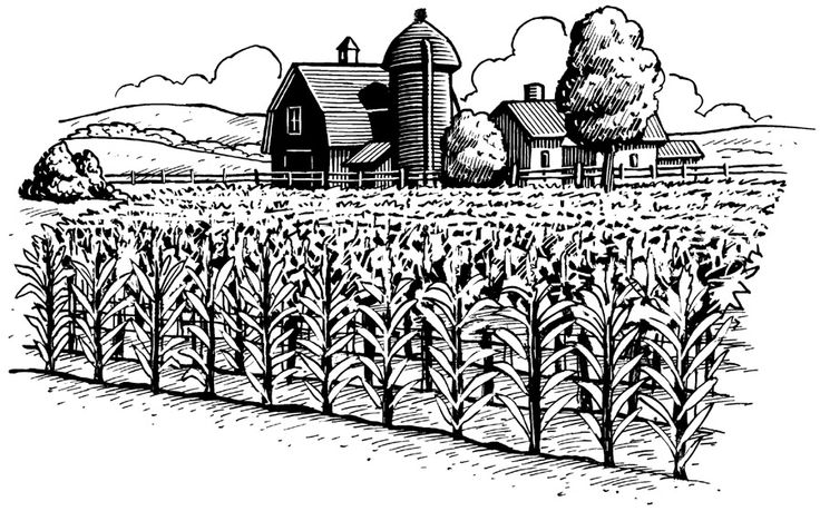 Station . Agriculture clipart black and white