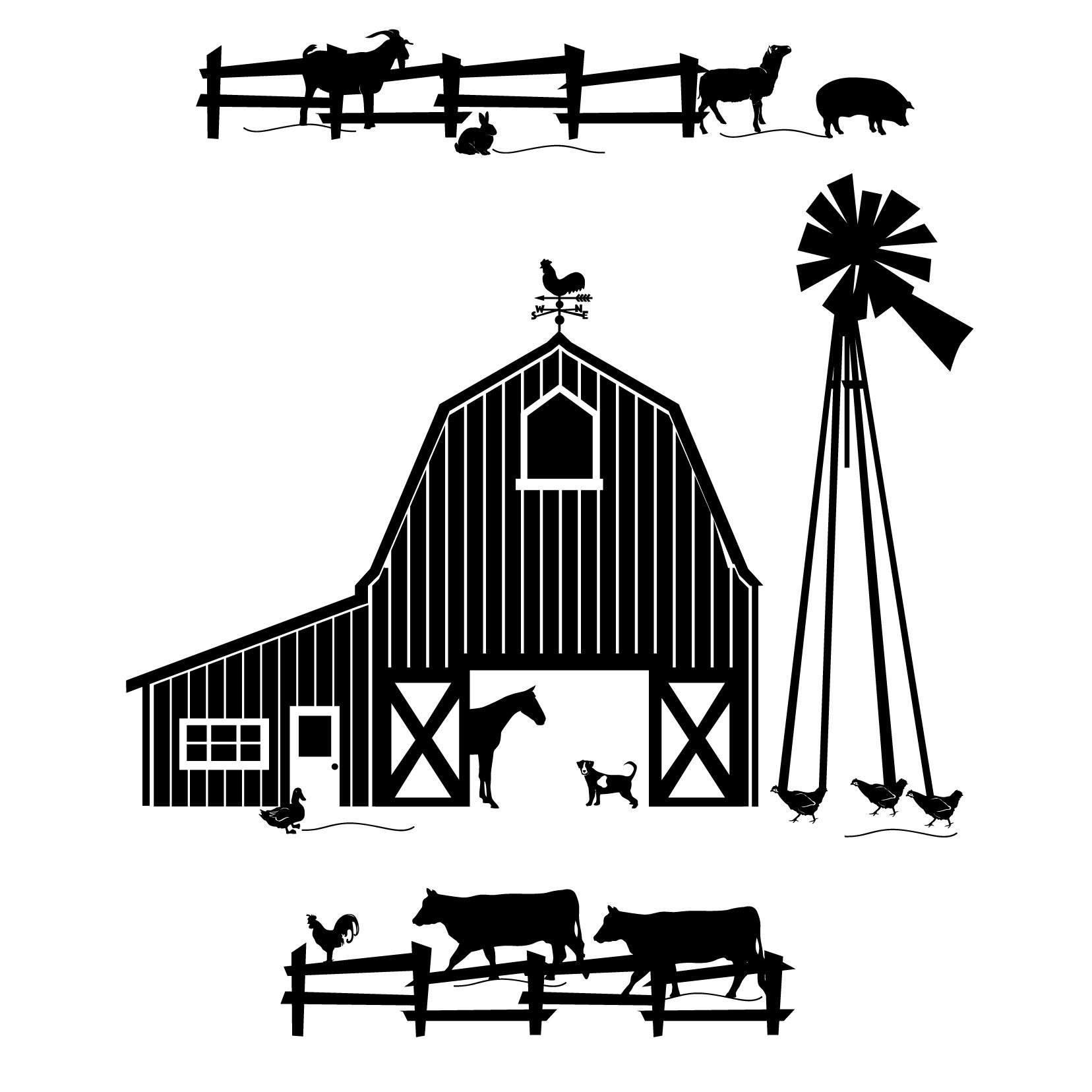Farm black and white. Barn clipart scene