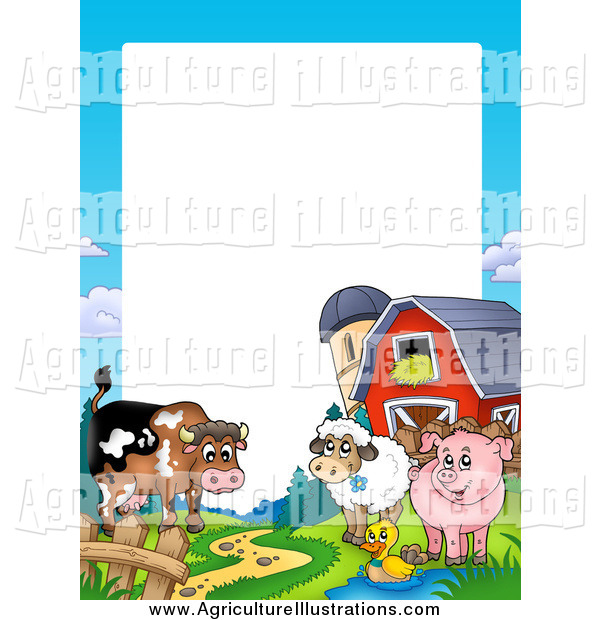 Agriculture clipart border. Of a cow duck