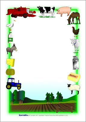 Farm themed a page. Agriculture clipart border