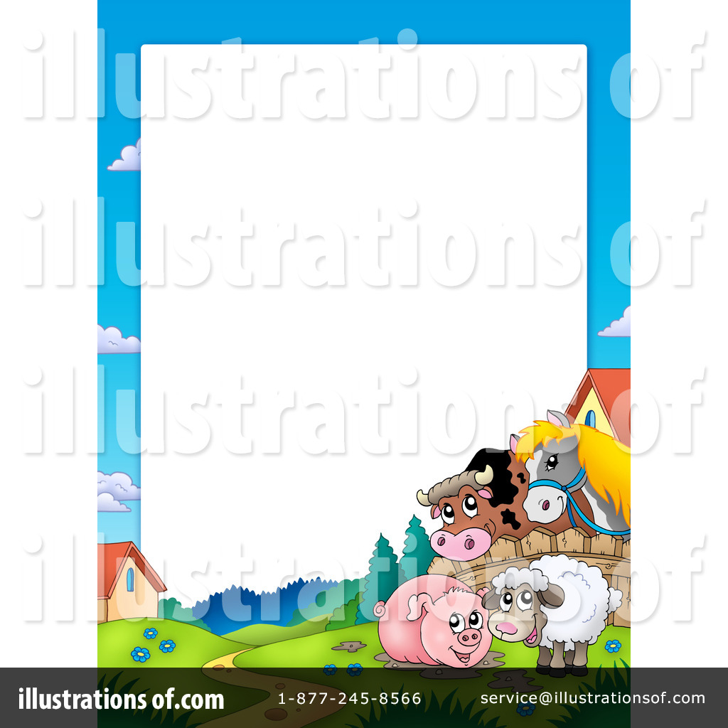 Agriculture clipart border. Farm animals illustration by