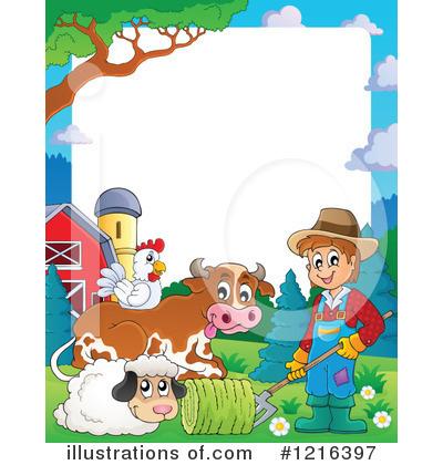 Farm animal illustration by. Agriculture clipart border