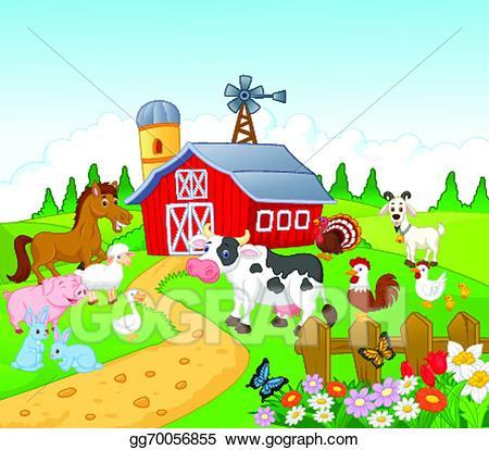 Vector art farm background. Agriculture clipart cartoon