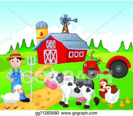 Farm clipart. Vector art cartoon farmer