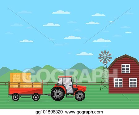 Vector stock tractor pulling. Agriculture clipart commercial agriculture