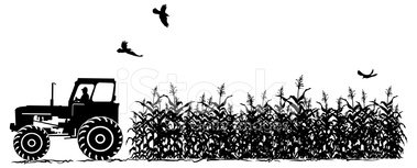 Tractor and silhouette isolated. Agriculture clipart corn field