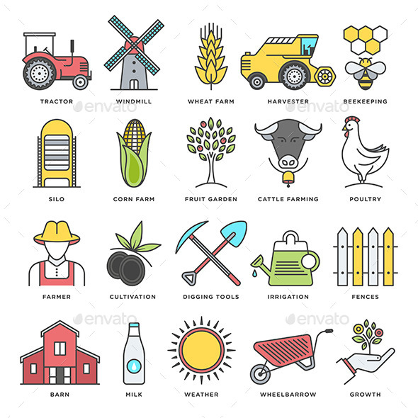 Agriculture clipart cultivation. Farming and flat line