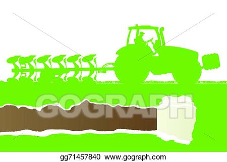 Vector stock tractor plowing. Agriculture clipart cultivation