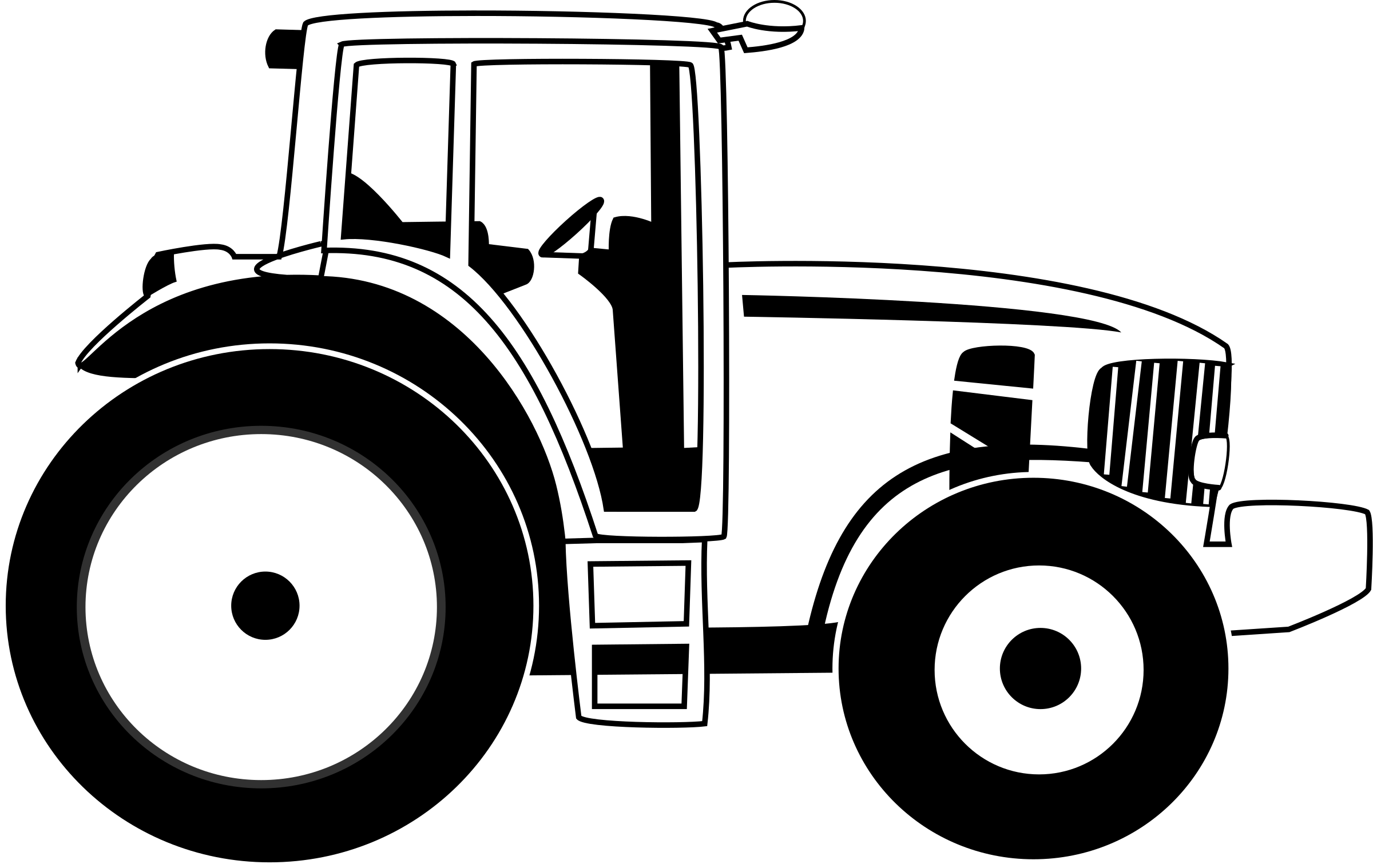 Tractor b w big. Agriculture clipart farm machinery