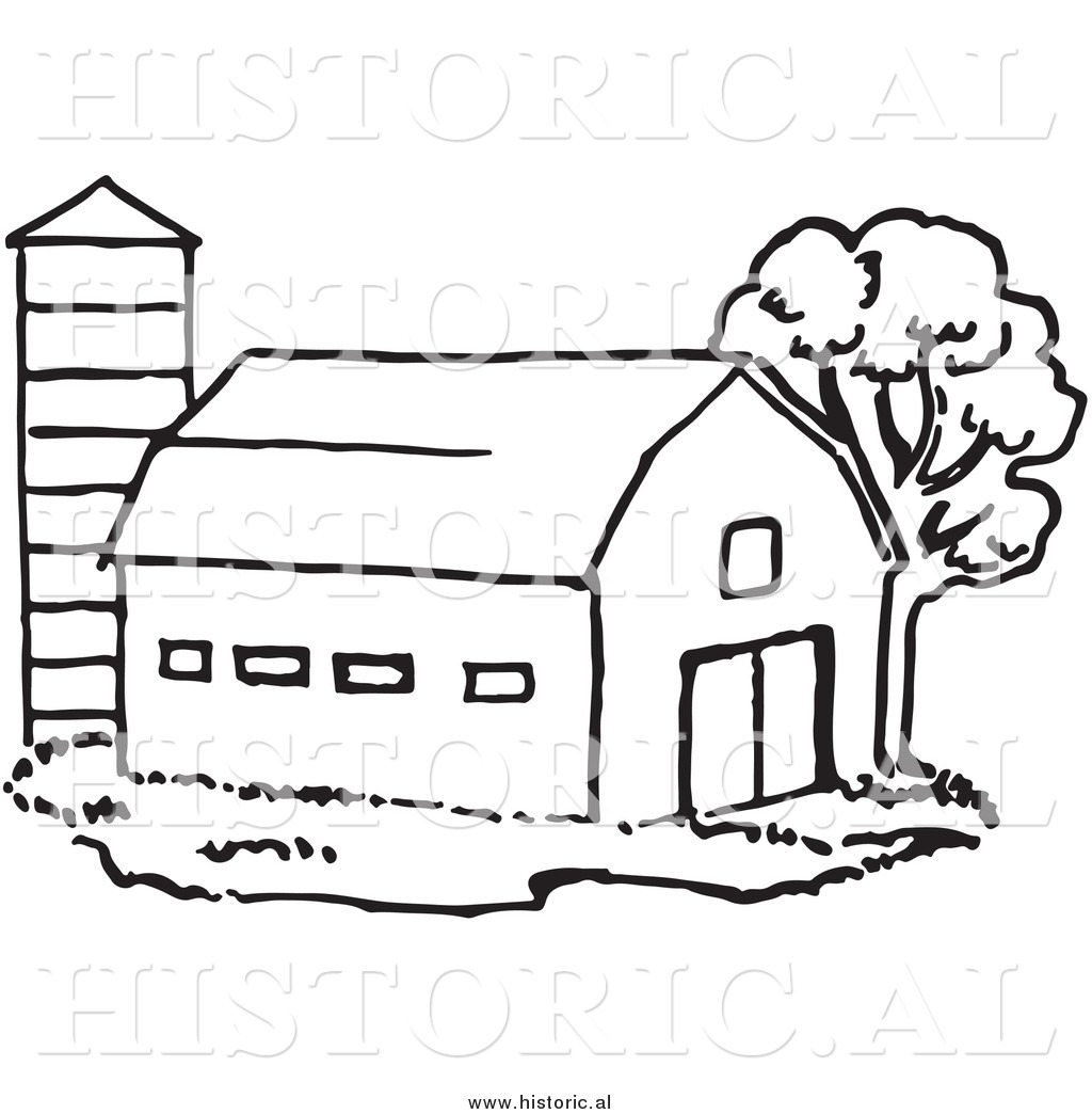Historical of a beside. Barn clipart line drawing
