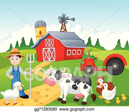 Farming clipart rural area. Vector art cartoon farmer