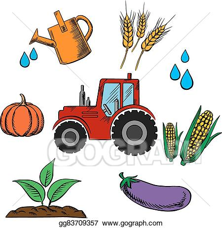 Vector industry and farming. Agriculture clipart food