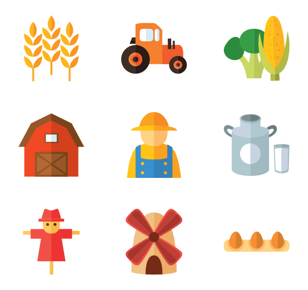 Farm icons free vector. Agriculture clipart icon