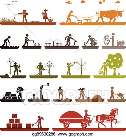 Vector art set of. Agriculture clipart icon