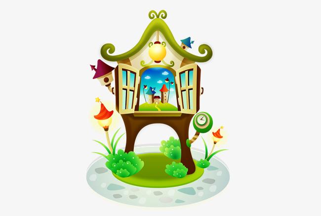 Cartoon castles in the. Air clipart air element