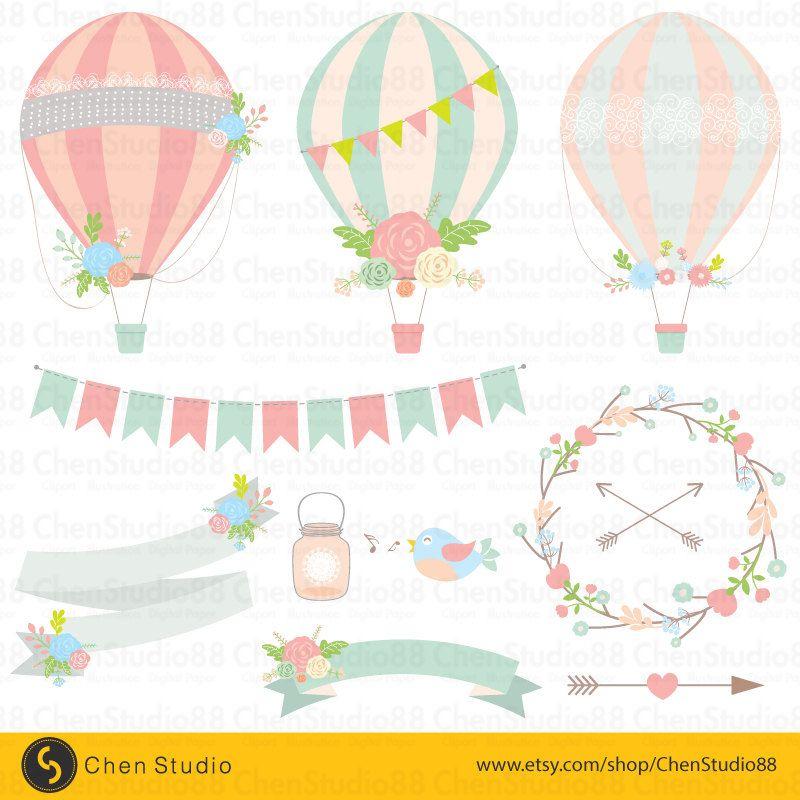 Air clipart aire. Wedding hot balloon vector