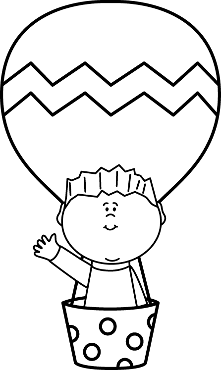 Black and white boy. Clipart balloon head