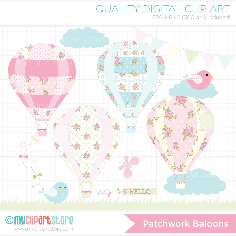 Patchwork hot balloons digital. Air clipart breeze