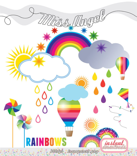 Rainbows files weather cliparts. Air clipart cloud