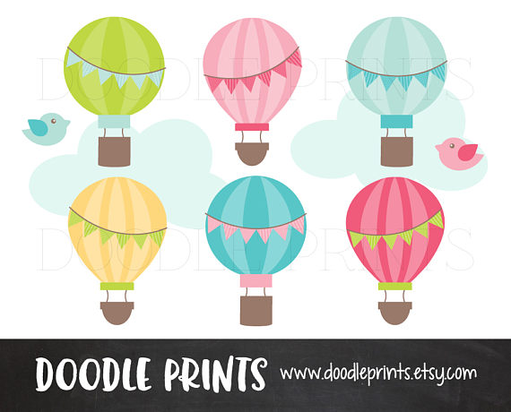 Balloon clipart banner. Hot air balloons bunting