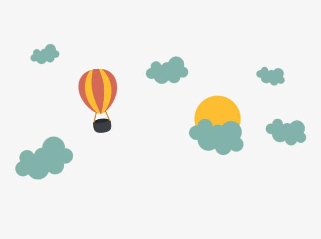 Clouds color hot balloon. Air clipart cloud