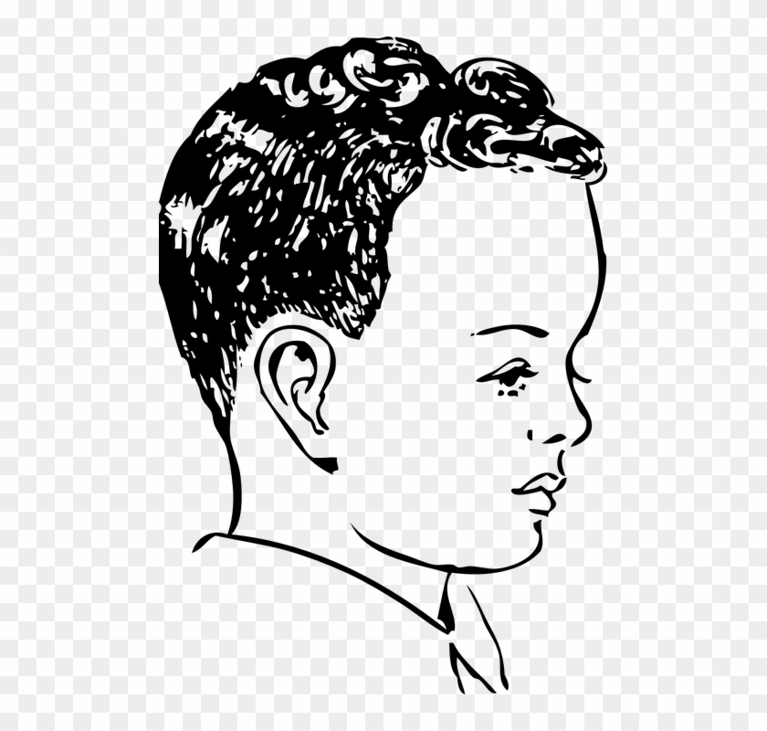 Boy hair curls face. Air clipart curly