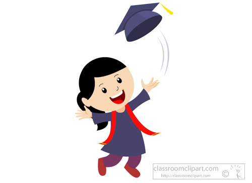 Graduation female student throwing. Celebrate clipart classroom