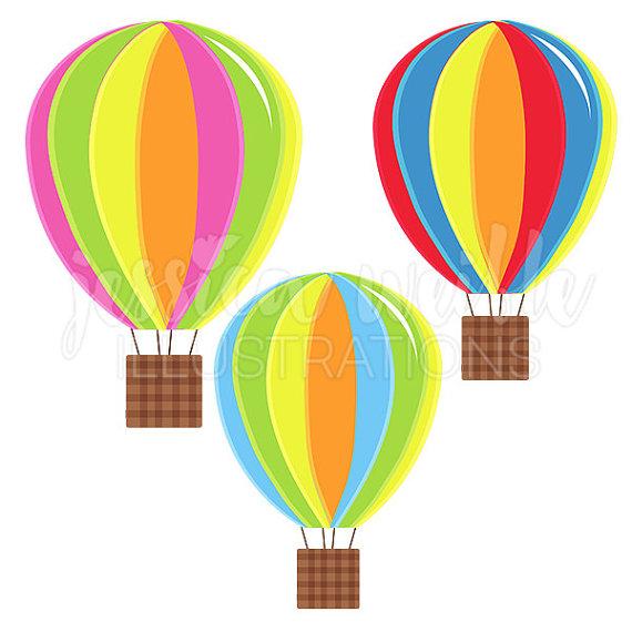 Hot balloons digital fun. Air clipart cute