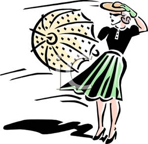 Windy clipart woman. A colorful retro style