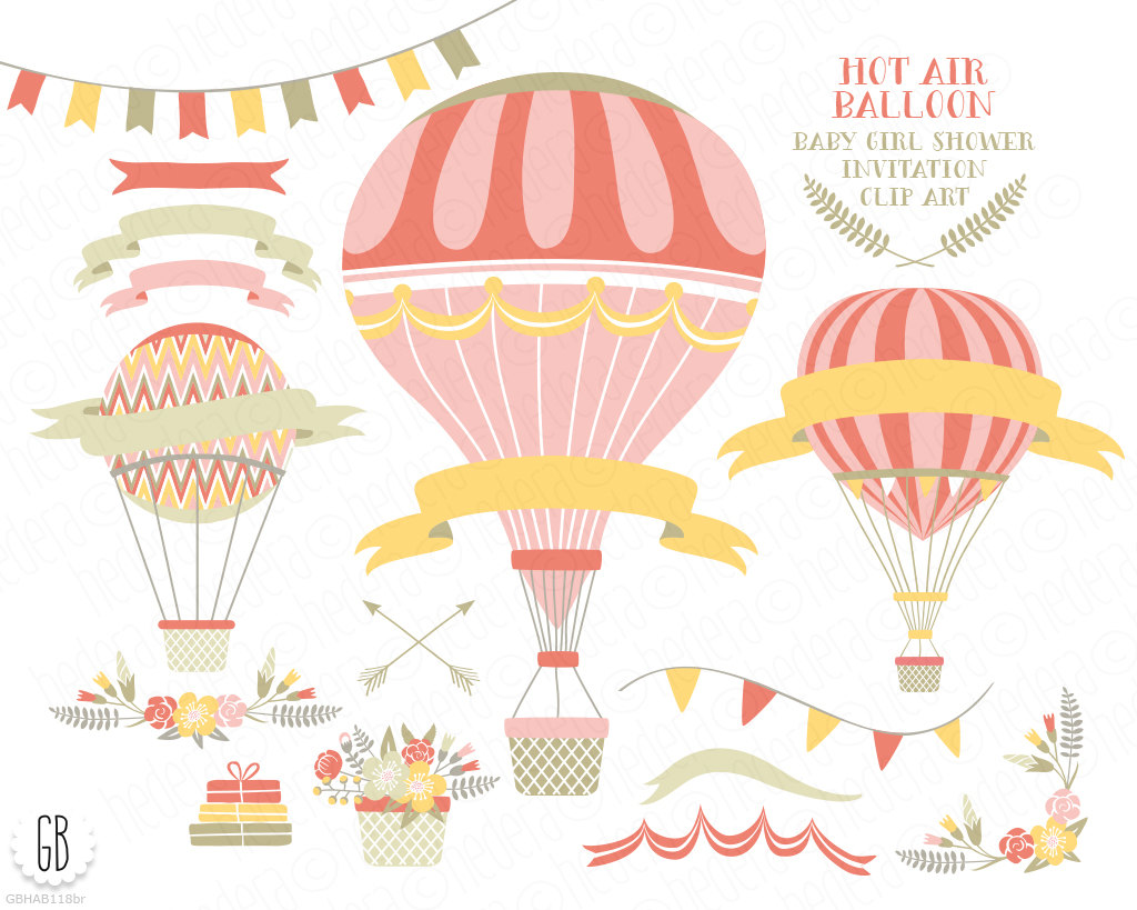 Old fashioned pencil and. Baby clipart hot air balloon