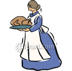 Woman carrying thanksgiving turkey. Air clipart old fashioned