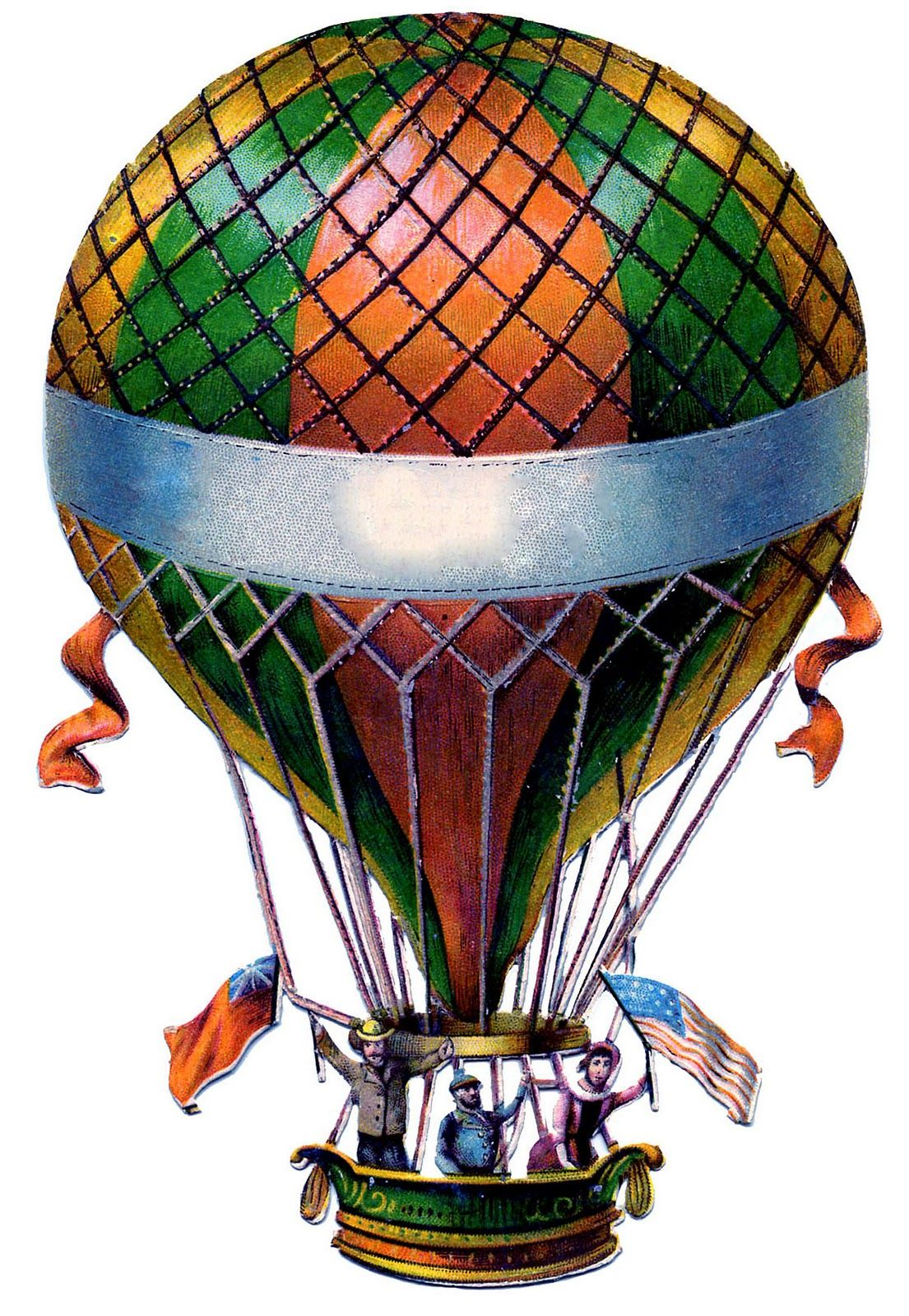 Antique graphic hot balloon. Air clipart old fashioned