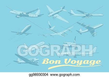 Vector bon voyage set. Air clipart pop art