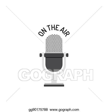 Vector illustration flat design. Air clipart radio mic