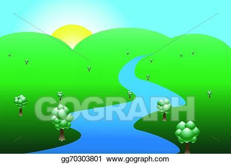 Air clipart river flow. Vector art sun mountains