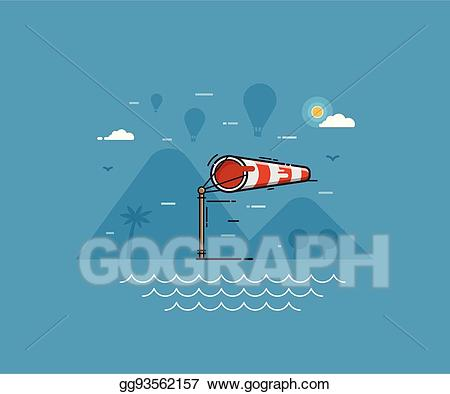 Eps illustration windy weather. Air clipart strong wind