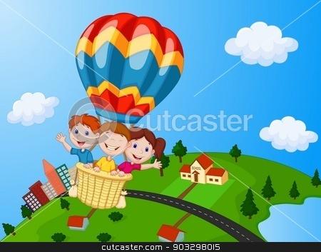 Happy kids riding a. Air clipart uses air
