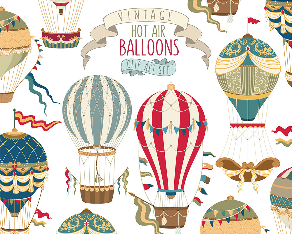 Hot balloon unique vector. Air clipart vintage