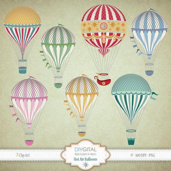 Air clipart vintage. Hot balloons clip art