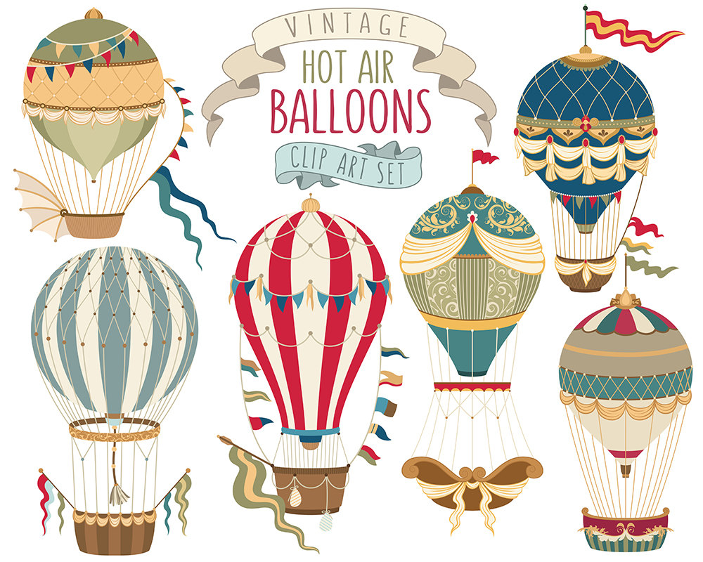 Air clipart vintage. Hot balloon unique vector