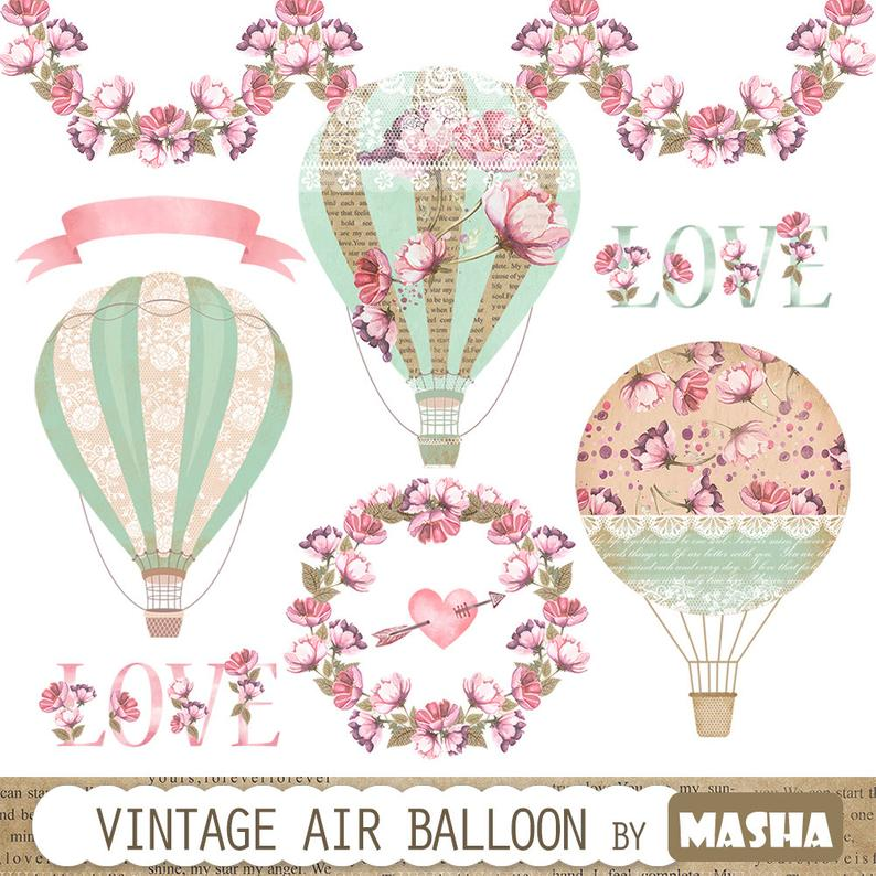 Hot air with watercolor. Clipart balloon vintage
