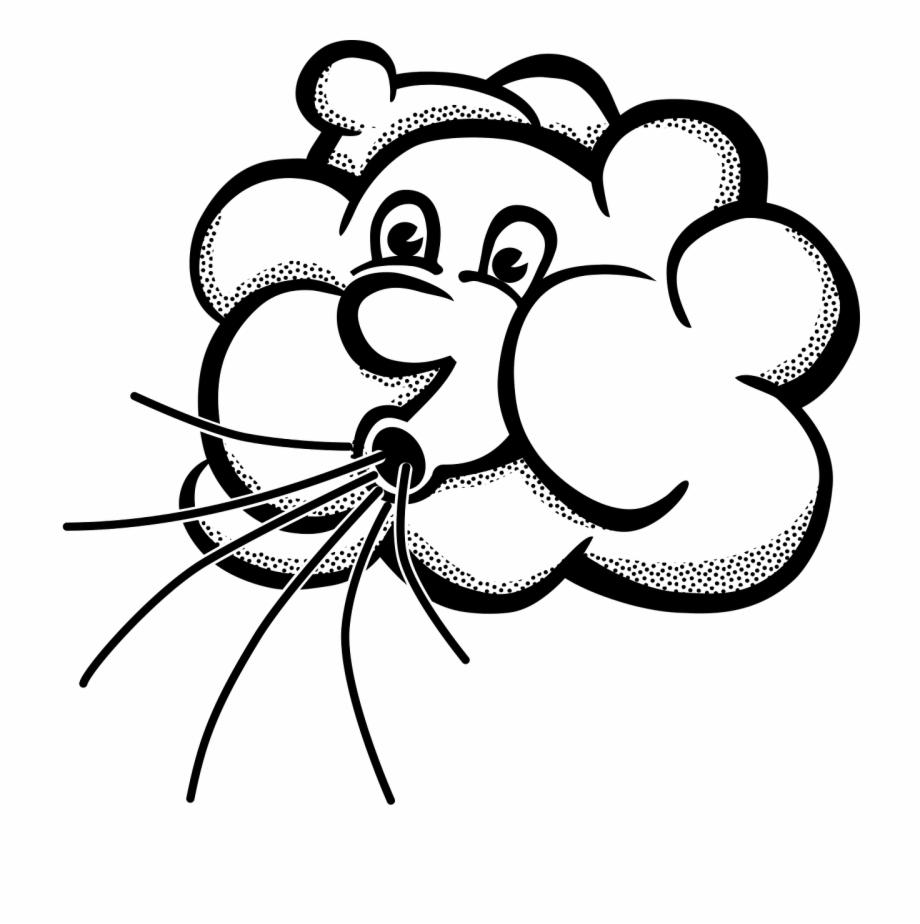 Air clipart wind. Blowing cloud cartoon png